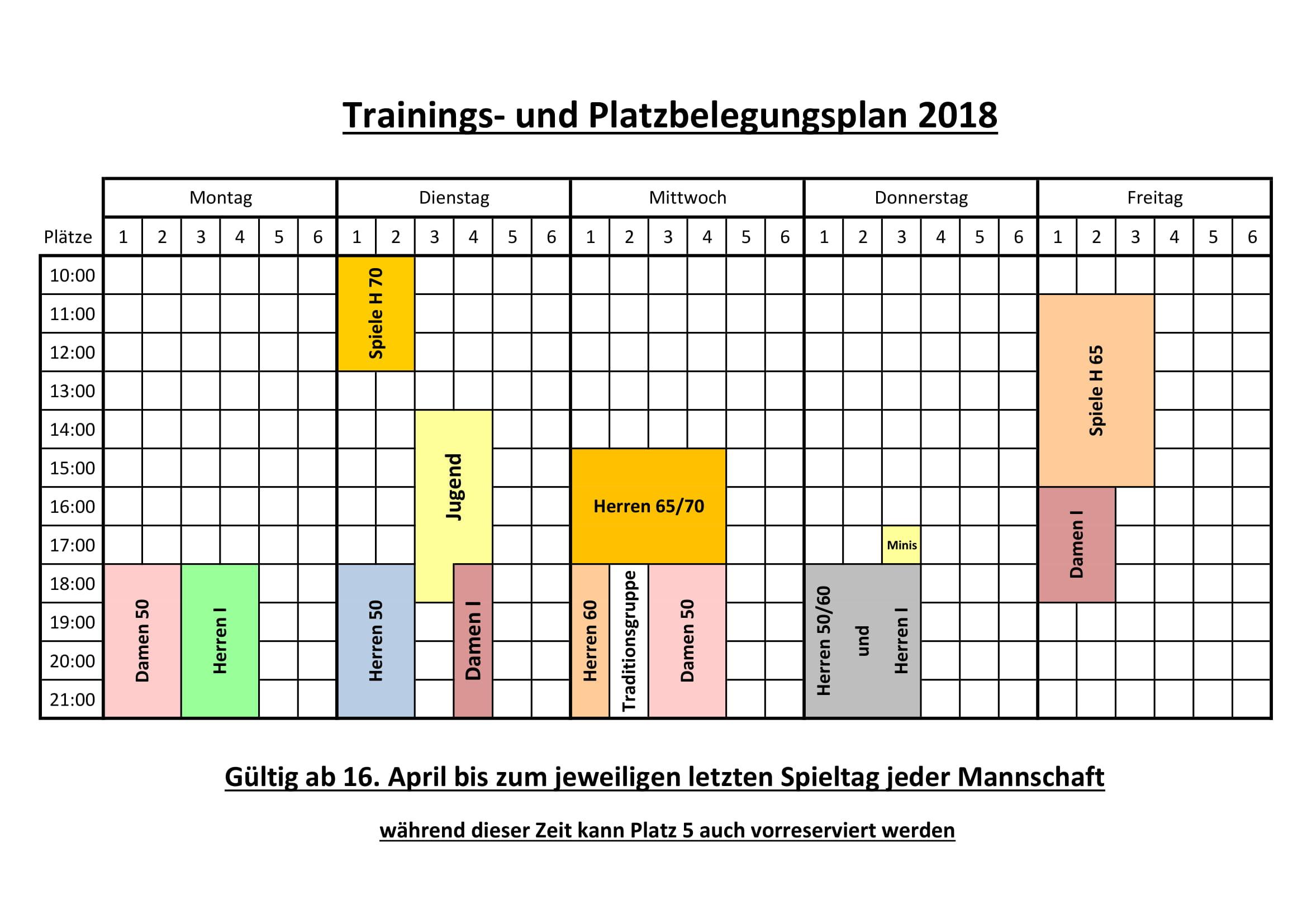 Trainingsplan 2018